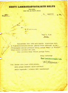 Eesti Lambakasvatajate Seltsi tunnustus Gabriele Tehverile tema töö eest Eesti koerte tõuaretuse alal 1939. aastal. Allikas: Imbi Tehveri erakogu